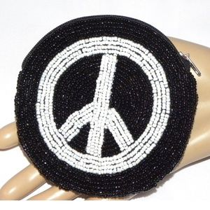VTG Beaded PEACE SIGN Coin Purse zip pouch Small